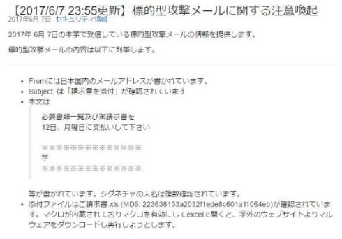 ウイルス メール 請求書 添付ファイル マルウェア 注意喚起