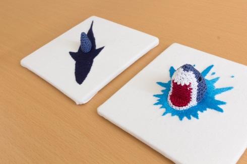 刺しゅう 編み物 サメ