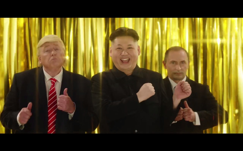トランプ、プーチン、金正恩のそっくりさんのCM