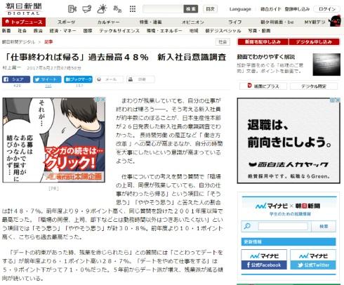 日本生産性本部 残業 帰る 朝日新聞