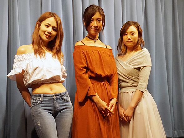 映画「身体を売ったらサヨウナラ」原作者の鈴木涼美さん、主演の柴田千紘さん、主題歌を歌ったPALUさん