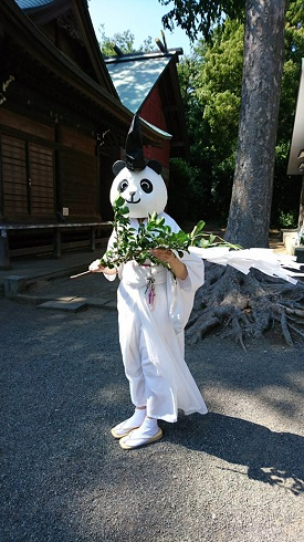 パンダ 宮司 神社 有鹿神社