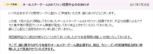 日本女子プロ野球オールスターゲーム、不正によりファン投票が中止
