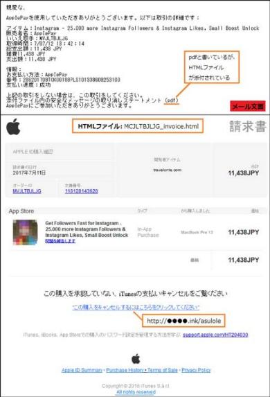 Apple 詐欺メール フィッシング 偽サイト
