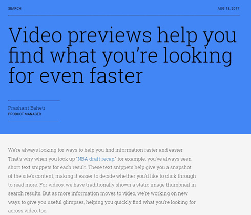 Google検索に、動画をプレビュー再生する新機能(Android端末向け)