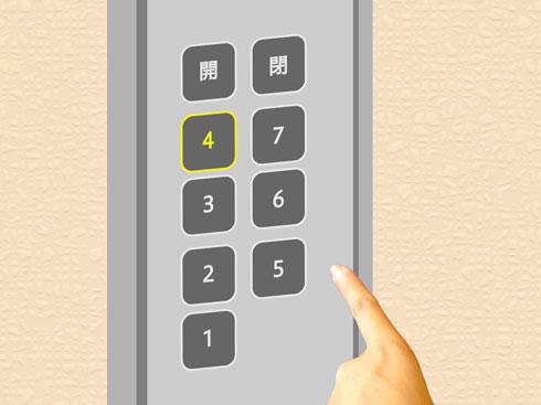 エレベーターのボタンの画像