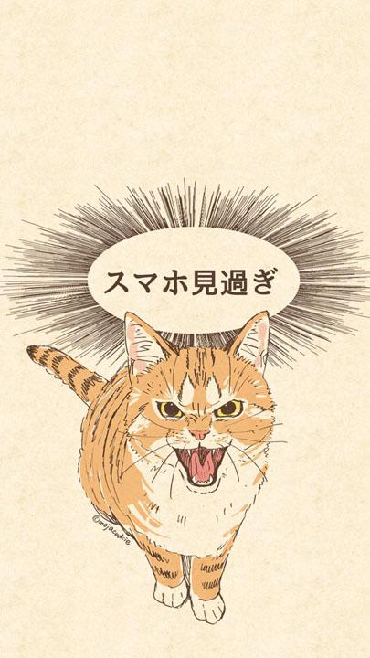 スマホ見過ぎとネコがしかってくれる壁紙がむしろスマホ見たくなって