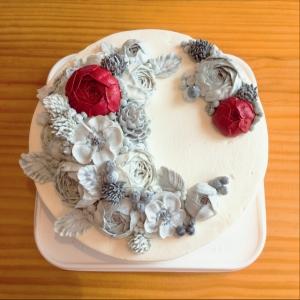 大理石イメージフラワーケーキ