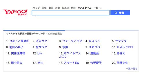 ひよっこ Yahoo!リアルタイム検索