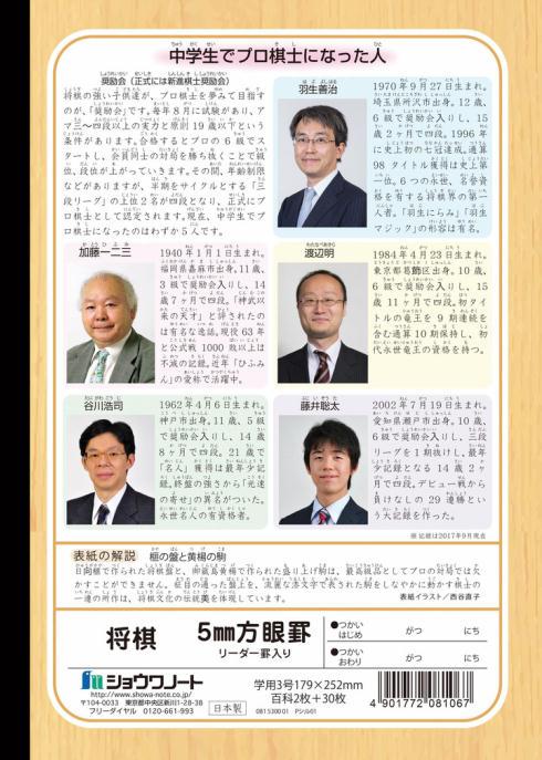 ジャポニカ学習帳「将棋」裏表紙
