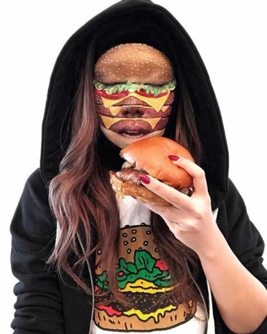 ファストフード メイク ハンバーガー ピザ 顔