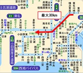 12月30日、東名高速下り「伊勢原バス停付近」の渋滞発生区間