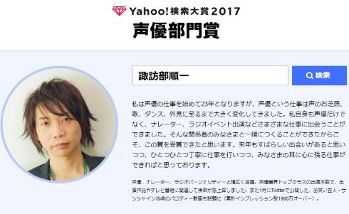 Yahoo! 検索大賞 ブルゾンちえみ けものフレンズ 諏訪部順一