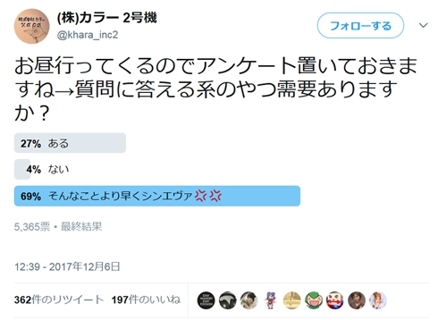 スタジオカラー新Twitter「(株)カラー2号機」爆誕 庵野監督からサクサクとコメントを取ってくる神対応