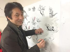 ライブドローイングする西川伸司さん