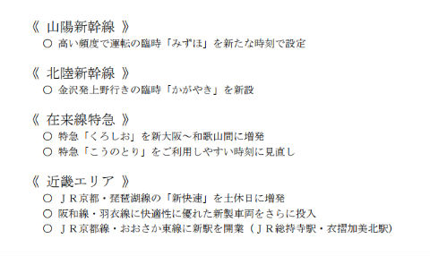 JR西日本の主な変更点