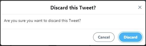 ツイートを破棄する際の選択肢 キャンセル 取り消す 分かりにく