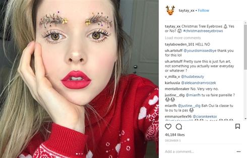 クリスマスツリーまゆげが海外インスタで流行? 女子だけでなく、イケメンやおじさんもキラキラまゆげに