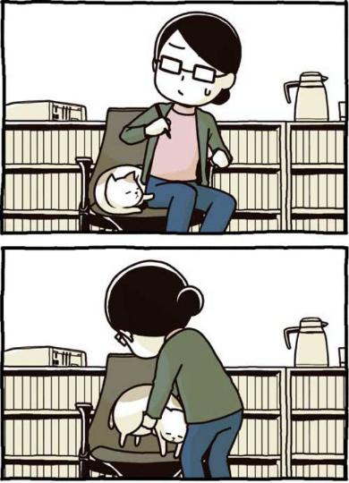 猫 椅子 膝に乗せる 2匹いける かわいい 漫画