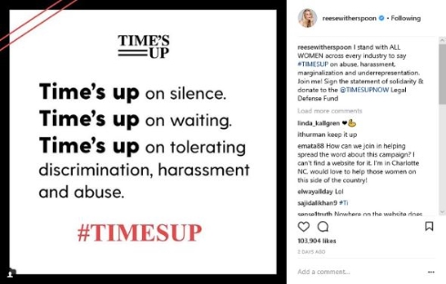 TIME'S UP リース・ウィザースプーン Instagram
