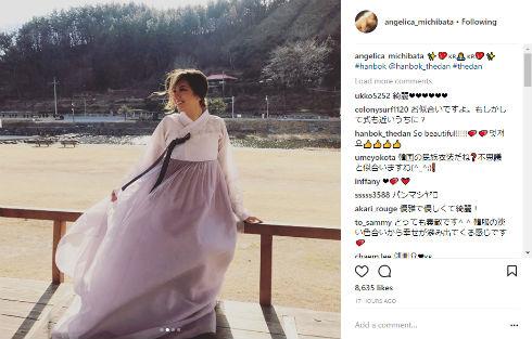 道端アンジェリカ チマチョゴリ 韓国 結婚 モデル