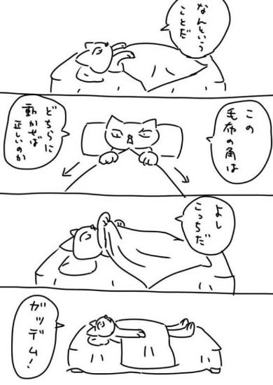 ベッド 毛布 回す 横向き あるある 漫画