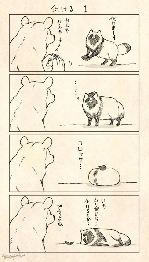 おおらかなクマさんとちょっぴり負けん気の強いたぬきさん