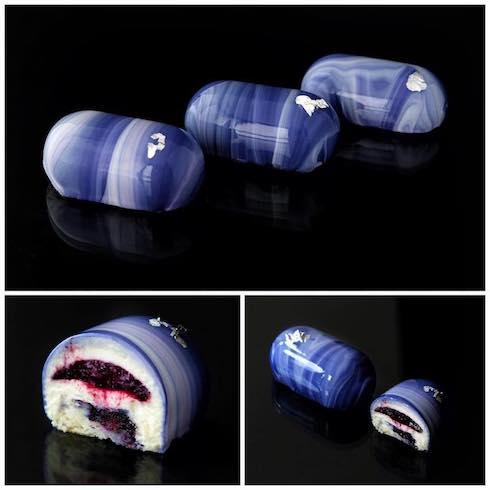 kseniapenkina アートケーキ ムースケーキ ブラックベリーとカシス