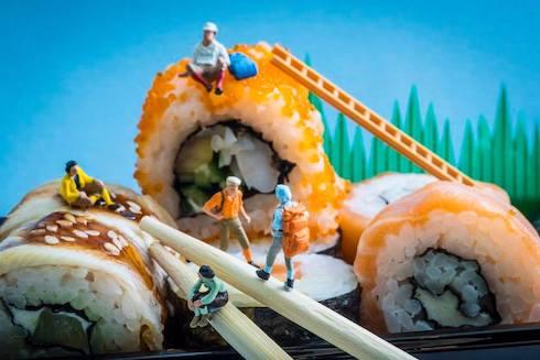 巻き寿司のミニチュア写真