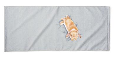 子うさぎが寝ているフェイスタオル
