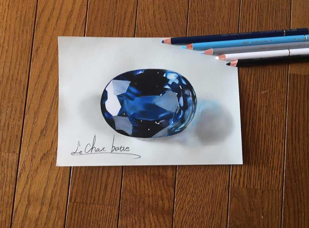 色鉛筆で描いた宝石が目を疑う美しさ 本物にしか見えない