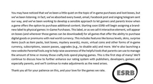 米ゲーム審査団体、「ゲーム内課金」に利用注意ラベル導入を発表