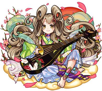 琵琶を弾くモンスターストライク・弁財天の画像