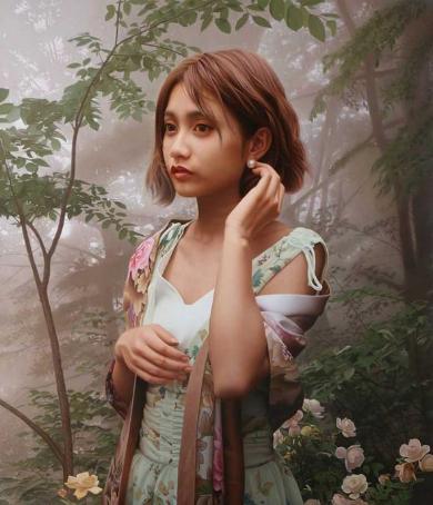 油絵 絵画 写実的 写真みたい 女性