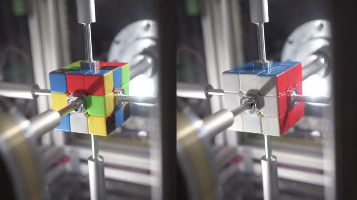 0.38秒でルービックキューブを解くロボット爆誕 始動→バババ!→そろった