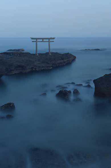 雲海 写真 大洗磯前神社 神磯の鳥居 撮って出し