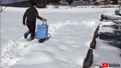 雪上を走るキャリーバッグ