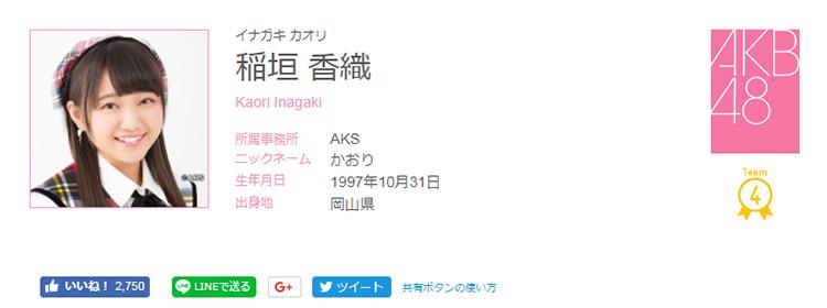 ステージから落下し後頭部を骨折したAKB48 チーム4の稲垣香織さん(画像はAKB48Webサイトから)