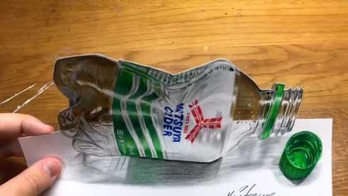 ペットボトル イラスト 色鉛筆 三ツ矢サイダー 本物に見える