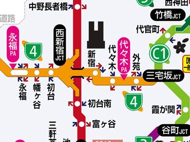 西新宿JCTあたりの地図