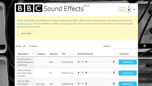 BBC Sound Effects サウンドエフェクト 公開 アーカイブ