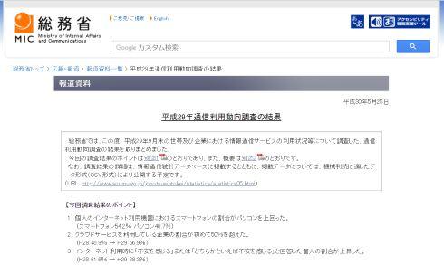 総務省 スマートフォン PC 通信利用動向調査