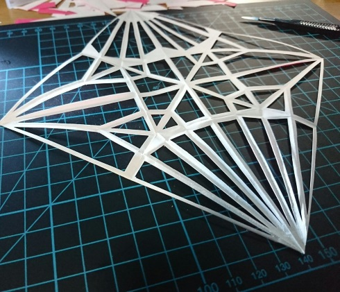 折り鶴 スケスケ 折り目 ワイヤーフレーム