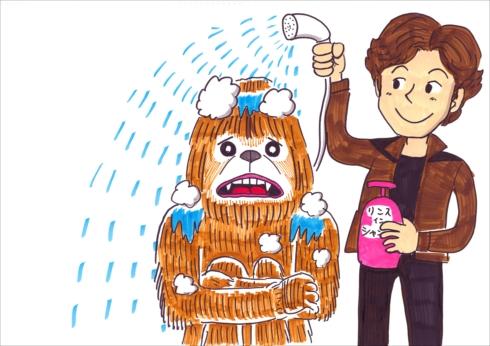 まさかの濡れチューバッカ誕生 お笑い芸人鉄拳に描いてもらった