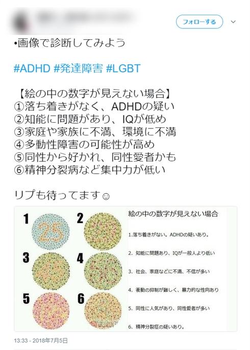 色覚検査表使いデマ拡散「絵の中の数字が見えない場合ADHD、発達障害、LGBTの疑い」 本来の用途を医師に聞いた