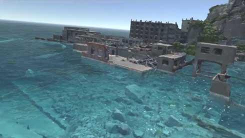 海面 10m上昇 軍艦島 VR