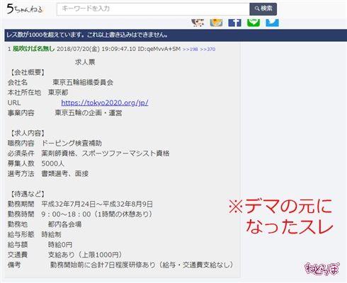 「東京五輪ドーピング検査員5000人の給与がタダ」はデマ 組織委員会に聞いた