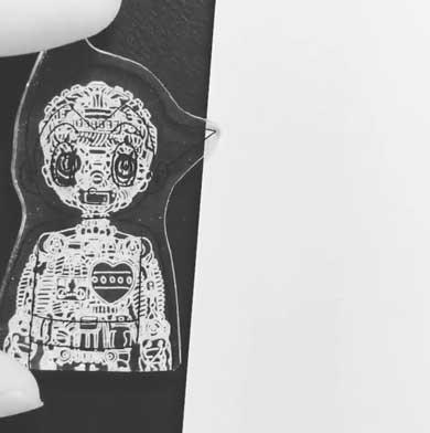 鉄腕 アトム 透視 遊び プラ板 アート