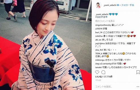 安達祐実 浴衣 Instagram 年齢 ボーイッシュ ドラマ