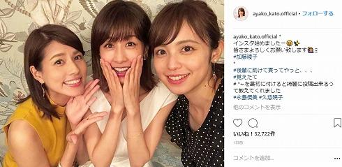 餅田コシヒカリ 永島優美 久慈暁子 フジテレビ アナウンサー Instagram インスタ